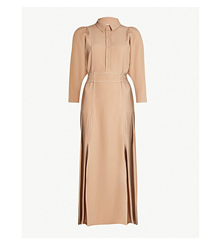 TOPSHOP Topstitch crepe shirt dress (Camel