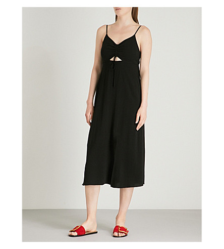 TOPSHOP Molly ruched-front slip dress (Black