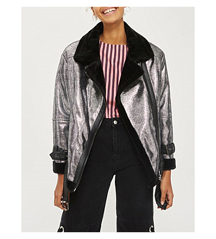 TOPSHOP Metallic faux-leather jacket (Black