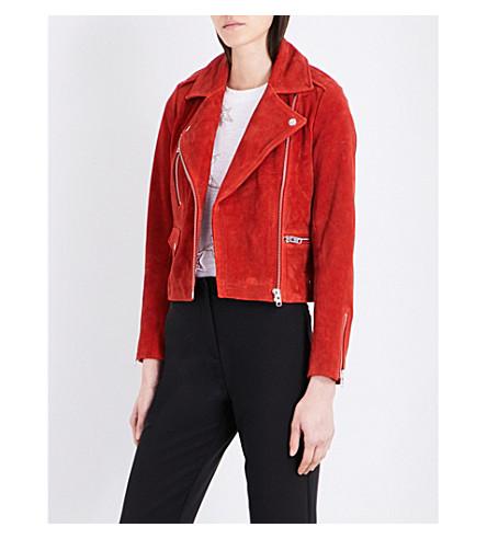 TOPSHOP Rocket suede biker jacket (Red