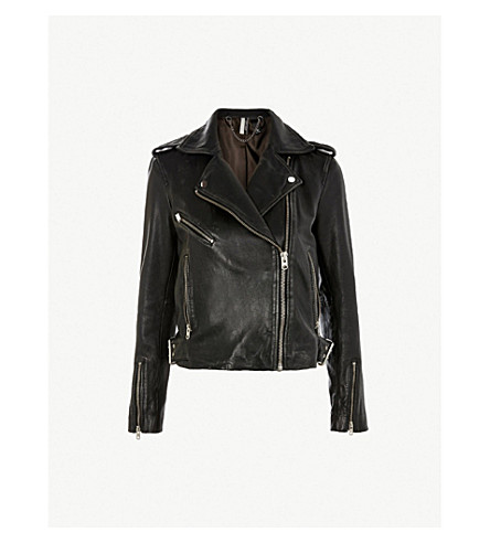 TOPSHOP Strike leather biker jacket (Black