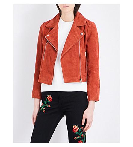 TOPSHOP Julie suede biker jacket (Rust