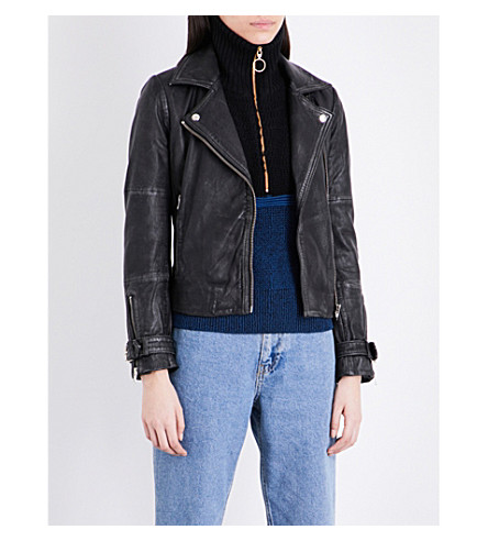 TOPSHOP Leather biker jacket (Black