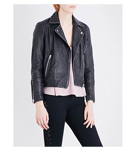 TOPSHOP Daze leather biker jacket (Black