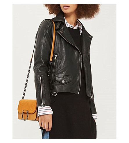 TOPSHOP Lucky leather biker jacket (Black