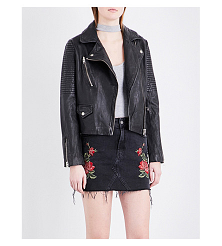 TOPSHOP Orbit leather biker jacket (Black