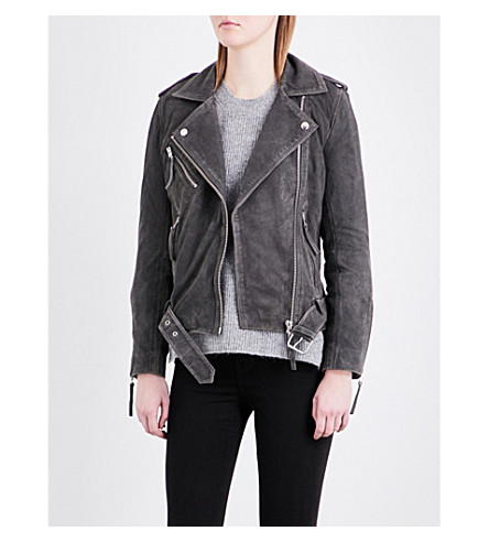 TOPSHOP Moon suede biker jacket (Grey