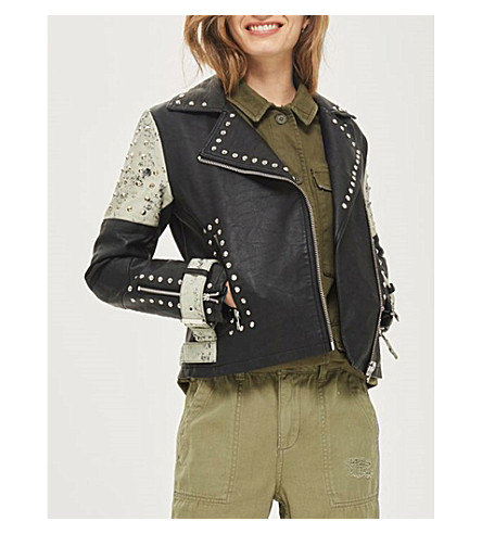 TOPSHOP Maddox contrast painted panel faux-leather jacket (Black