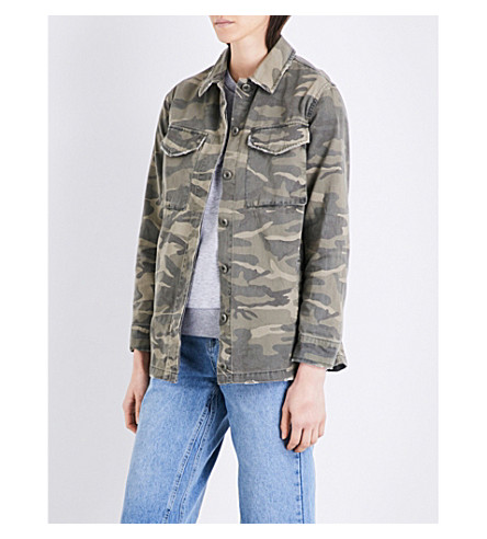 TOPSHOP Camouflage Sampson cotton-twill jacket (Khaki