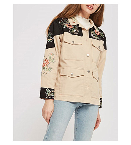 TOPSHOP Rodeo floral-embroidered cotton jacket (Ecru