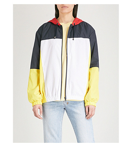 TOPSHOP Colour-block shell hooded jacket (Yellow