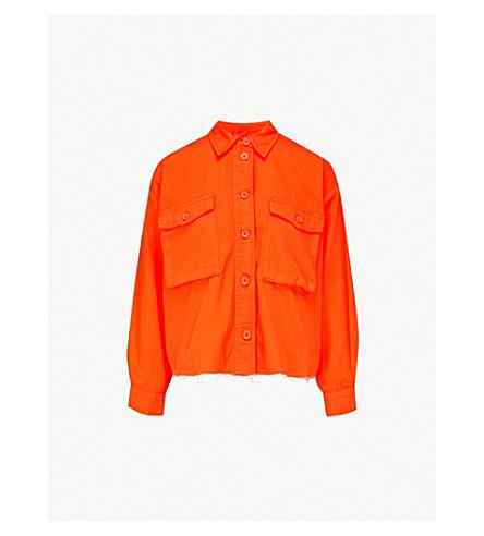 TOPSHOP Sonny raw-hem denim jacket (Red
