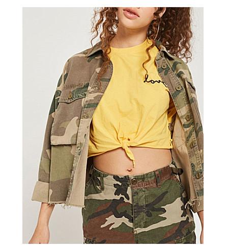 TOPSHOP Camouflage-print cotton jacket (Khaki