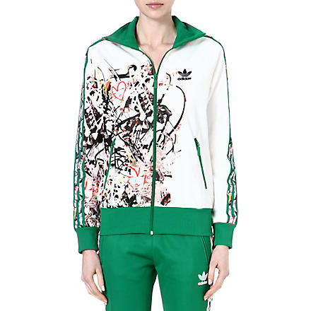 TOPSHOP X ADIDAS ORIGINALS Firebird zip front tracksuit top (Green