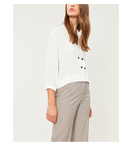 TOPSHOP Taylor revere-collar woven blouse (Ivory