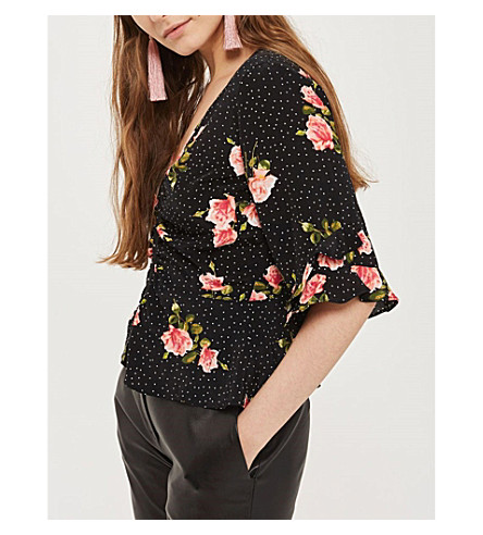 TOPSHOP Floral-print crepe hook and eye blouse (Black