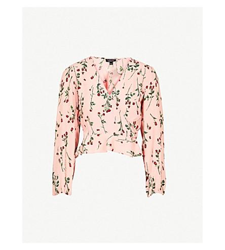 TOPSHOP Rose-print V-neck crepe blouse (Nude