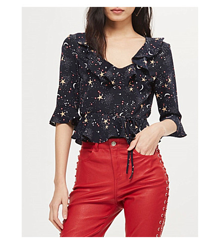 TOPSHOP Star and moon-print woven top (Navy+blue