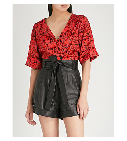 TOPSHOP Animal spotted satin-twill buttoned top (Red