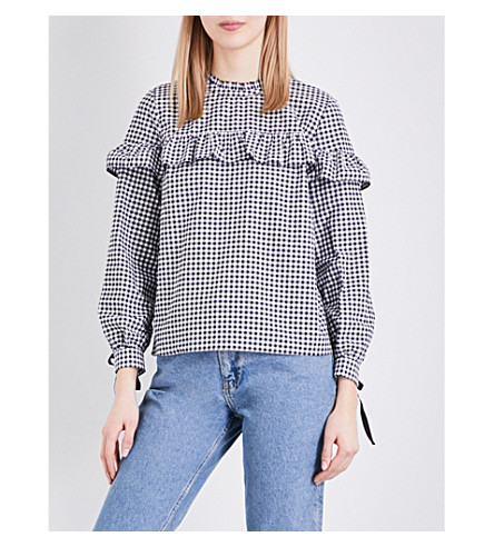 TOPSHOP Ruffled gingham cotton-poplin shirt