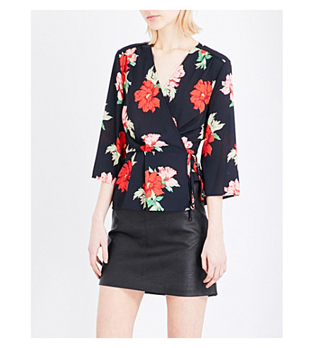 TOPSHOP Rita wrap crepe top (Black