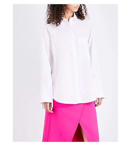 TOPSHOP Deep cuff cotton shirt (White