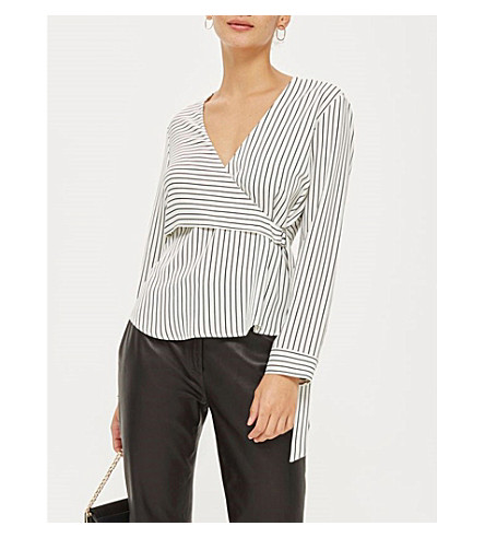TOPSHOP Wrap-over striped satin shirt