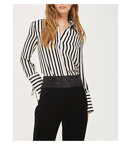 TOPSHOP Striped satin shirt