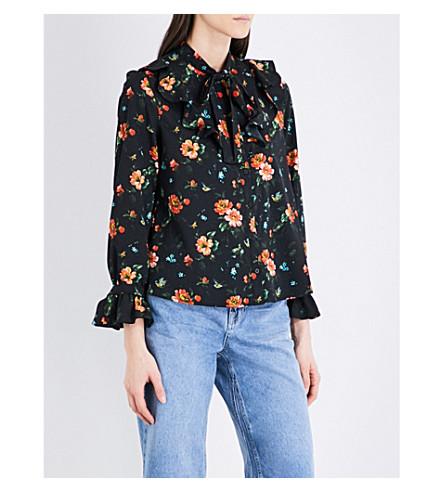 TOPSHOP Floral-print crepe shirt (Black