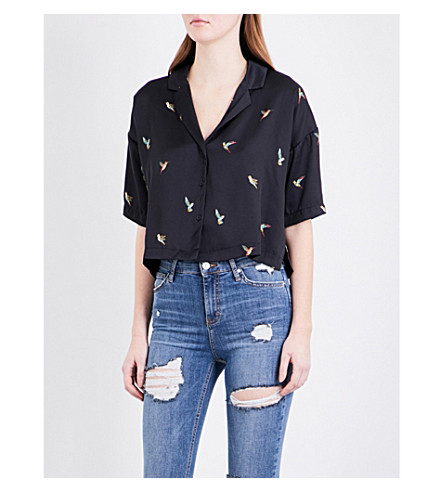 TOPSHOP Humingbird Iris cropped shirt (Navy+blue