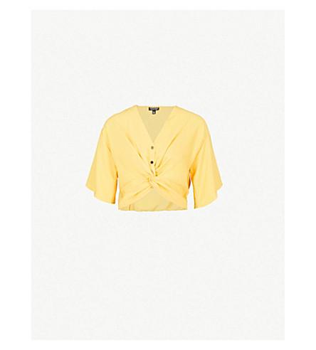 TOPSHOP Cara twist-front crepe top (Yellow