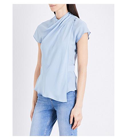 TOPSHOP Origami wrap crepe blouse (Pale+blue