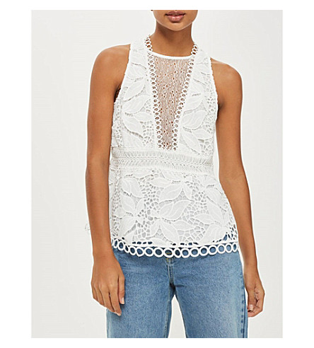 TOPSHOP Floral-embroidered lace top (Ivory