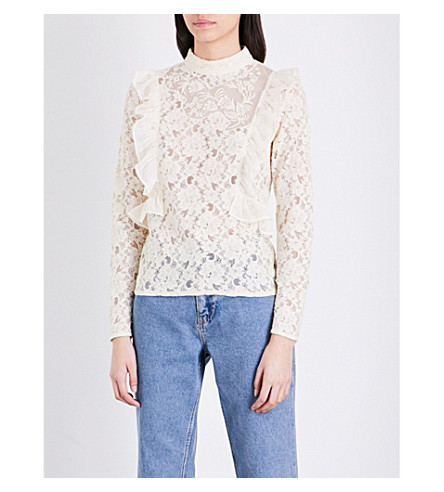 TOPSHOP Ruffled lace top (Ivory