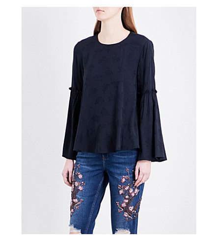 TOPSHOP Flute-sleeve jacquard top (Navy+blue