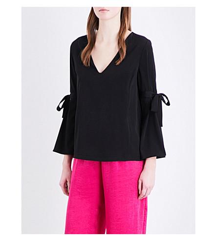 TOPSHOP Edie bell-sleeve crepe top (Black