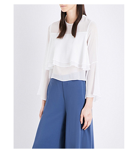 TOPSHOP Flute-sleeve chiffon top (Ivory