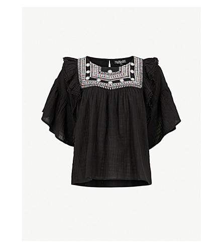 TOPSHOP Embroidered ruffled cotton blouse (Black