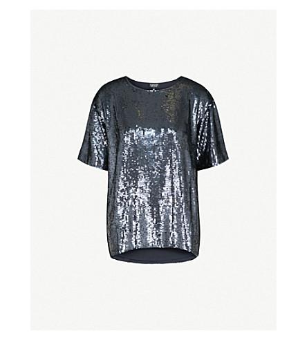 TOPSHOP Oversized sequin T-shirt (Slate