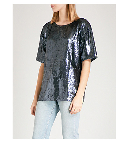 TOPSHOP Oversized sequin T-shirt (Slate