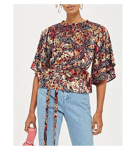 TOPSHOP Draped tied devoré blouse (Multi