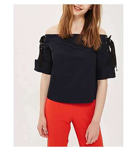 TOPSHOP Eyelet Bardot cotton-jersey top (Navy+blue