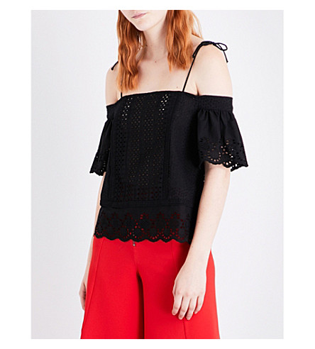 TOPSHOP Broderie anglaise off-the-shoulder cotton top (Black