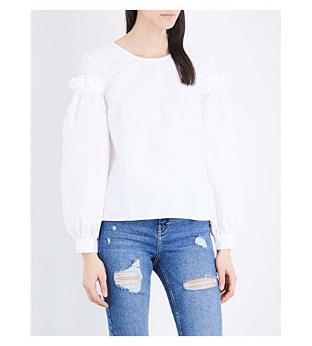 TOPSHOP Mutton sleeve cotton top (White