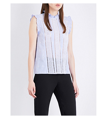TOPSHOP Broderie anglaise cotton top (Light+blue
