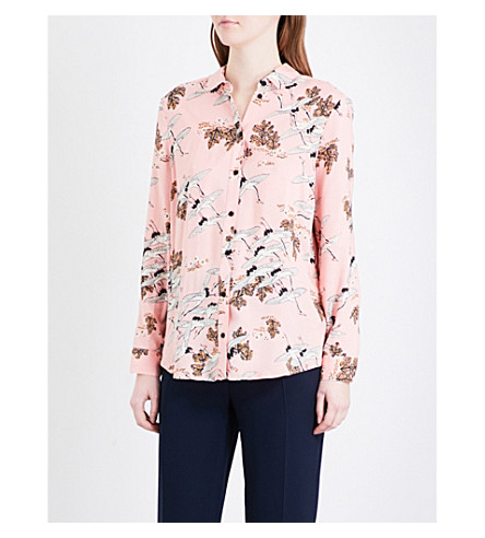 TOPSHOP Bird in Flight crepe shirt (Pink