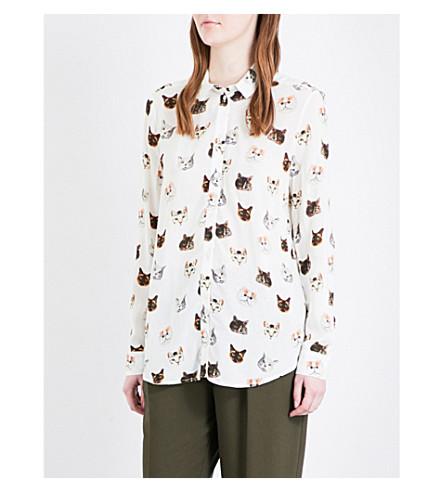 TOPSHOP Multi-Cat crepe shirt (Ivory