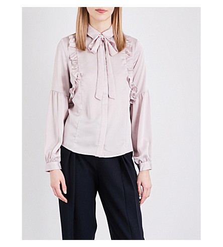 TOPSHOP Pussybow satin shirt (Pale+grey