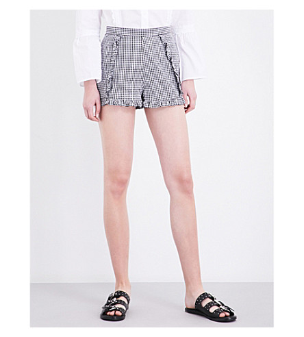 TOPSHOP Gingham Crinkle cotton-blend shorts