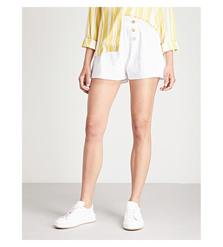 TOPSHOP Heart Broderie cotton shorts (White